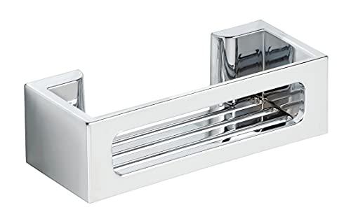 WENKO Power-Loc® Wandablage Bralia Chrom - Badezimmer-Regal, befestigen ohne bohren, Kunststoff (ABS), 30 x 8.5 x 12 cm, Chrom