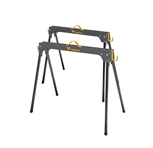 Heavy Duty Stand Metabo HPT 115445M Portable Folding Sawhorses Built-In Cord Hooks and Shelves 4 Sawbucks 2-Pack 1,200 Pound Capacity