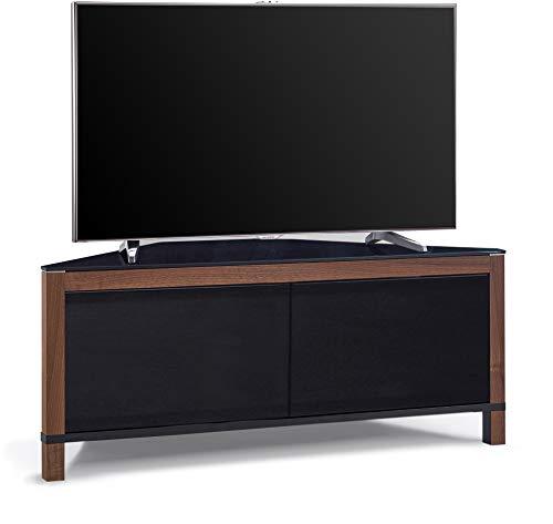 MDA Designs Volans Remote Friendly Beam-Thru Tru-Corner Glass Interchangable Black/Walnut Panel 2-Door Flat Screen TV Corner Cabinet