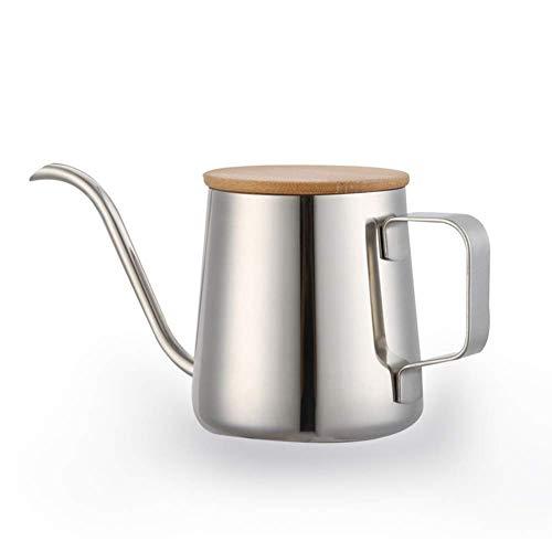 Silberne Kaffeekanne 350ml Edelstahl Schwarzer Teflon Langer schmaler Schwanenhals Sprossen Kaffeekessel Tropfkanne Kaffeeserver für Home Office Camp Travel YangYM
