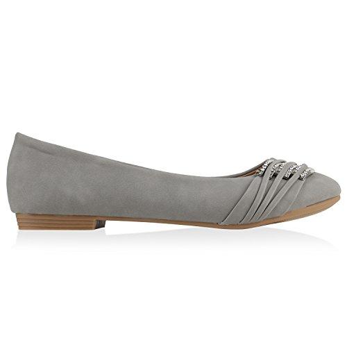 stiefelparadies Klassische Damen Strass Ballerinas Elegante Slipper Übergrößen Metallic Glitzer Flats Schuhe 135356 Hellgrau 36 Flandell