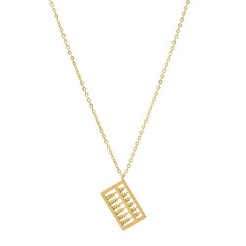 La personalidad de la moda cuadrado abacus collar mujer horno de acero titanio electroplating cuentas móviles cuentan la cadena de clavícula colgante joyería de oro