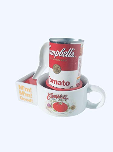 Soup Bowl with Spoon (ceramic) and 1 Can of Tomato Soup (10.75oz) Wrapped Gift Set