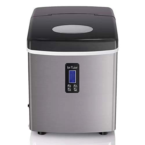 COOLLIFE Ice Maker Machine for Countertop, Makes 35 lbs/24 hrs- Ice Cubes Ready in 8 Mins