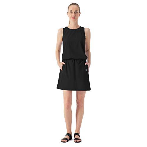 NAVISKIN Damen Sommerkleid Sonnenschutz UPF50+ Outdoorkleid leichtes Funktions-Kleid ärmellos Road Dress Schwarz Größe L
