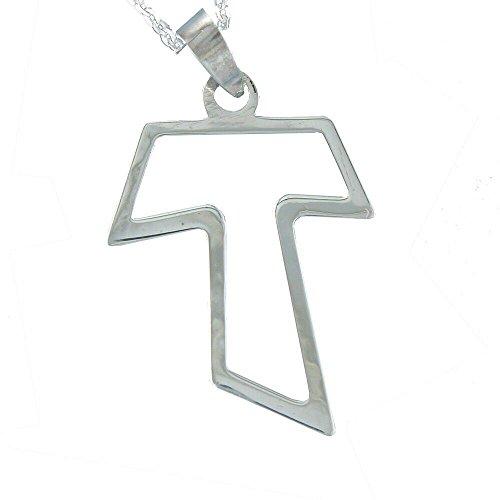 Alylosilver Collar Colgante Cruz Tau de Plata para Mujer - Cruz de San Francisco, Calada. Incluye una Cadena de Plata de 45 cm y Estuche para Regalo