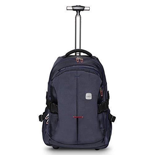 WEISHENG 19 Zoll Laptop Rucksack Trolley Roll Rucksack für Kinder und Geschäftsreisen, Handgepäck, Schultasche,mit viel Stauraum für Schule und Reisen,Blau