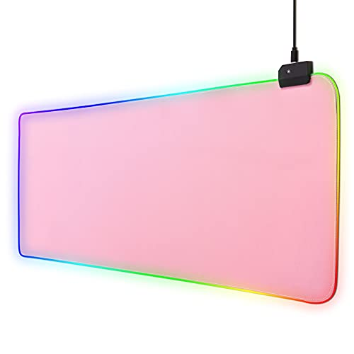 RGB Gaming Mouse Pad Pink, Large Extended Glowing Led Mousepad with 14 Lighting Modes, Non-Slip Rubber Base Computer Keyboard Pad Mat for Gamer, 31.5x12 x 0.16 Inch - Pink…