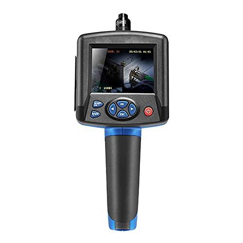 FEXAIX Endoscopio Industrial de la Tuberia, Endoscopio Industrial Digital Cámara de Inspección IP54 a Prueba de Agua con Luces LED, Cable Semirrígido, Tarjeta TF de 32G y Herramienta en Cochey Moto