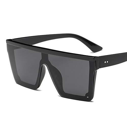 QDE Gafas de sol Gafas De Sol Superiores Planas De Gran Tamaño para Mujer Gafas para Sol para Hombre Gafas De Sol Grandes Pantallas Cuadradas, Negro