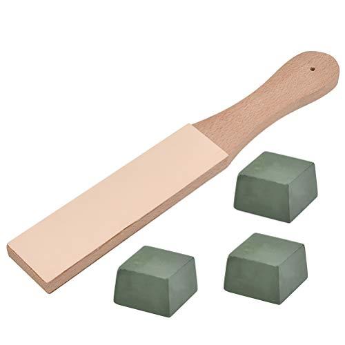 FOCCTS Premium Leder Streichriemen Paddelgriff aus Hartholz, doppelseitig Leder Abziehsteine Set mit 3 Polierpaste