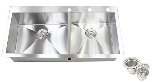 Contemporary Zero Radius Design Durable 16 Gauge Stainless Steel Topmount Drop In Over the Counter Double Bowl Kitchen Sink (43 Inch 60/40)