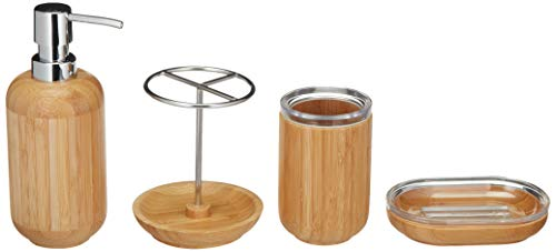AmazonBasics - Bambus-Badezimmer-Set, Rund, 4-teilig