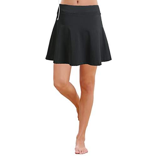 BEROY Damen Rock Kurz Culottes Tennisrock Yoga Skort mit Innenhose Taschen Sportrock für Frauen Mädchen Golf Sport Grau M