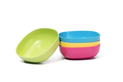 BambusMarkt - 4 cuencos en 4 colores - 700 ml - 15 cm Ø - 5 cm  | Ensaladera - Cuenco de bambú | Ecológico - Apto para el lavavajillas - Ultraligero - Irrompible | Cuenco para el desayuno