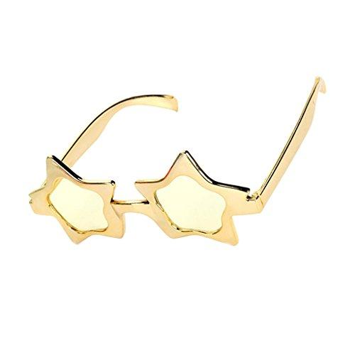 Glitzer Gold Partybrille Sonnenbrille Spaßbrille Sterne Brille Star Sunglasses Funbrille für Kostüm Party Club Tanz Props