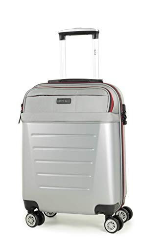 Rock Hybrid 55cm 8-Wheel Cabin Size Hardshell Suitcase with Easy Access Laptop Section in Silver