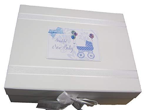 White Cotton Cards Dtb2 X Large Nouveau bébé Landau Boîte souvenir – Bleu