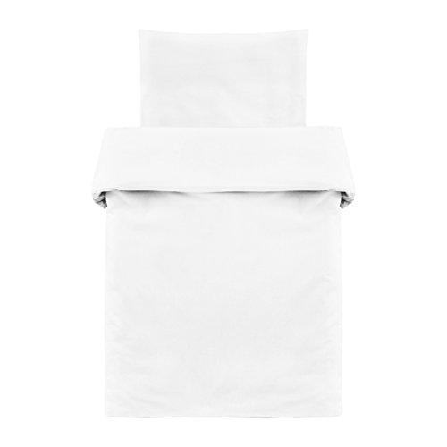 Makian - Funda Nórdica 80x80 cm y Funda Almohada 35x40 cm - Ropa de cama para Minicuna y Moisés, 100% algodón, Certificado ÖkoTex- blanco