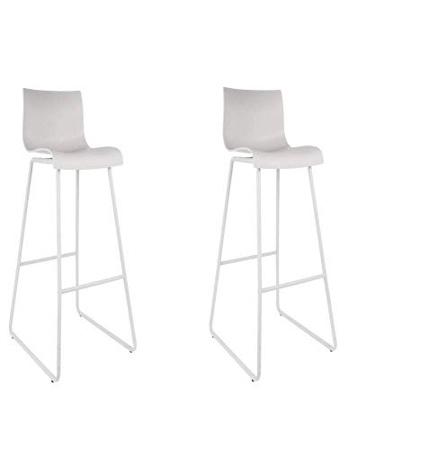 Maisonetstyles - Juego de 2 sillas de Bar (76 cm), Color Blanco