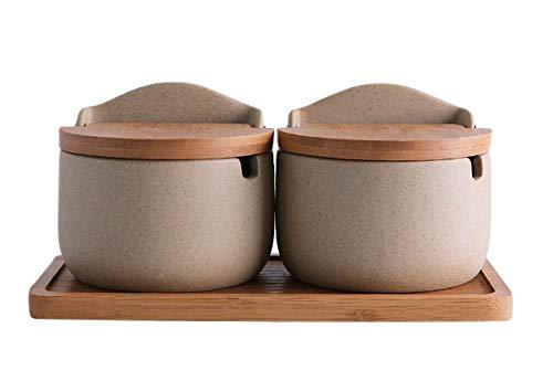 Koala Superstore Contenitore per Spezie Condimento in Porcellana in Stile Giapponese con Coperchi, 300 ml, Set di 2