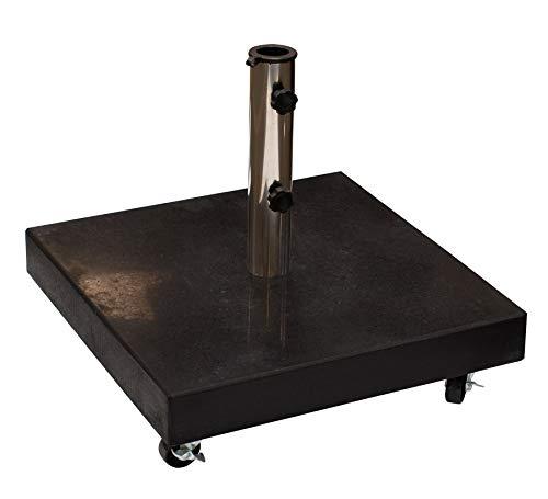 Schirmständer aus massivem Granit 50kg, mit vier gebremsten Rollen, schwarz