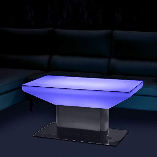 EVERGLOW DESIGN RGB-W LED Tisch, beleuchteter Tisch für das Wohnzimmer, Couchtisch, Shisha Bar oder die Terrasse, Innen- & Außenbereich (Länge 88cm & Breite 55cm & Höhe 46cm)