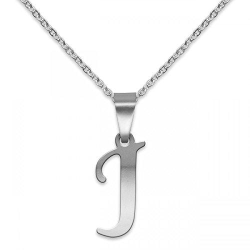 SoulCats® polierter Buchstaben Kettenanhänger mit Halskettchen aus Edelstahl in Silber; Buchstabe: J