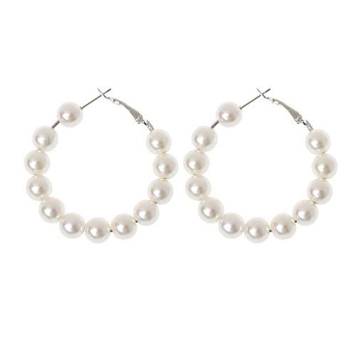 MIsha Pendiente anillo de perlas, Pendientes de moda para mujer, Regalo de san valentin(3cm)
