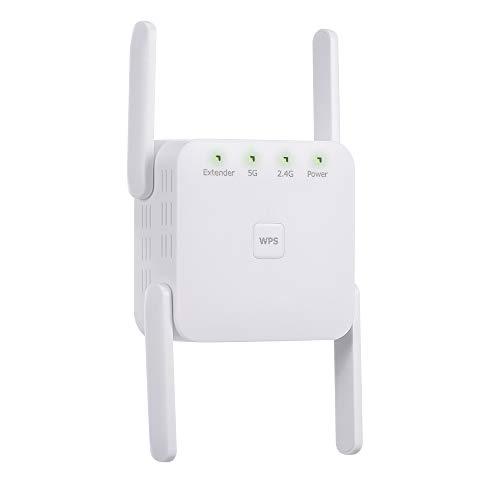 Adaskala 1200 Mbps 2,4G 5G repetidor WiFi de Doble frecuencia Extensor WiFi Amplificador de señal inalámbrico Blanco para Uso en la Oficina en casa Enchufe de la UE