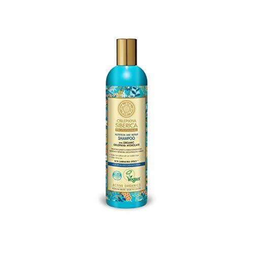 Natura Siberica, Professional Oblepikha nährendes reparierendes Shampoo für schwaches und geschädigtes Haar ml, dunkelblau, Sandelholz, 400 ml