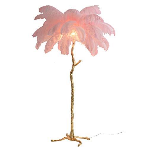 Elegante Creativo Avestruz Pluma Lámpara De Pie Lámpara De Pie De Trípode Para Sala De Estar Dormitorio Cabecera,Latón Lámpara De Araña Lámpara De Pie-Rosa B 100x170cm(39x67inch)