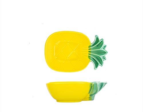 Cuencos y platos de cerámica cuenco de piña de frutas platos domésticos vajilla para niños cuenco de piña de 6.25 pulgadas
