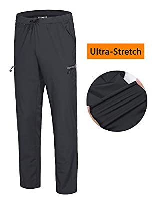 Little Donkey Andy Men's Ultra-Stretch Lightweight Quick Dry Athletic Pants Drawstring Travel Exercise Running Jogging Black XXL