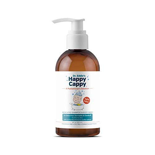 Dr. Eddie's Happy Cappy Medicated Shampoo for Children, Treats Dandruff and Seborrheic Dermatitis, No Fragrance, Stops Flakes and Redness on Sensitive Scalps and Skin, Cradle Cap Brush Not Needed, 8 oz