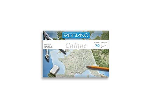 FEDRIGONI 46348 Papier calque Fabriano dessin industriel crayon encre 70 g A4 pochette 12 feuilles 297 x 210 mm Blanc