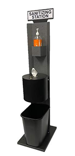 Free Standing Cleaning Wipe Dispenser with Hand Cleaner Holder | All-in-one Station. The Perfect Modern Touch for Fitness Centers, spas, Yoga Studios, Hotels, and Other Facilities.(Hammer Tone Grey)