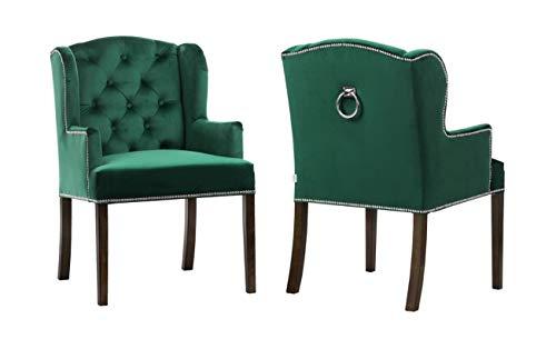 Un par de sillas de comedor con tachuelas de terciopelo con anillo trasero, color negro