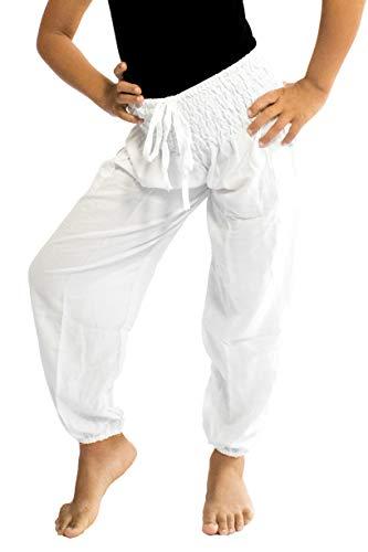 PIYOGA Girls/Boys Yoga Pants Baggy Boho Scrunched Bottom (Fits Kids Ages 6-10) - Kundalini White