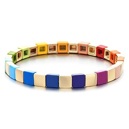 yuge, pequeña y Bonita Pulsera con Encanto de arcoíris, Pulsera Bohemia, Pulsera Femenina, Pulsera de Azulejos esmaltados, joyería Colorida, Regalo C