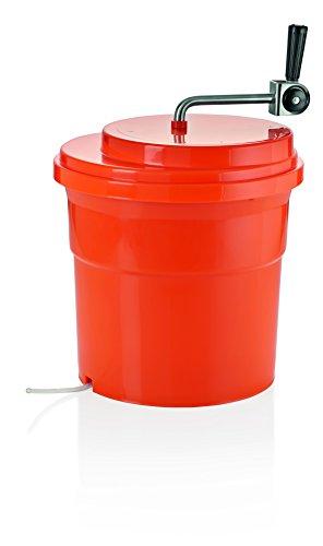 Salatschleuder aus Polypropylen in orange/Deckel aus ABS Kunststoff - Griff aus Edelstahl, Zahnräder aus Nylon, Behälter mit Wasserablaufschlauch, XTRA PREISWERT - in zwei Ausführungen erhältlich / A1 - Inhalt: 6,5 Liter, Höhe: 34 cm, Ø 34 cm / A2 - Inhalt: 27 Liter, Höhe: 40 cm, Ø 44 cm (34 Zentimeter)