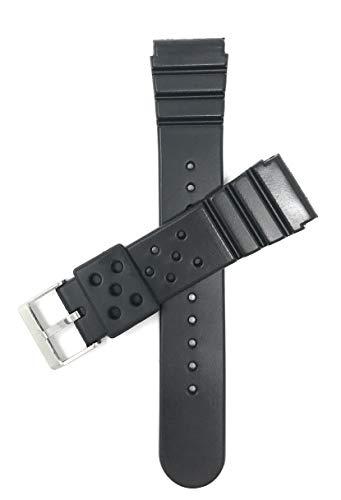Bandini 22mm Schwarz Gummi Uhrenarmband Für Seiko Diver & Mehr, Sports, 2 Federstege inklusive