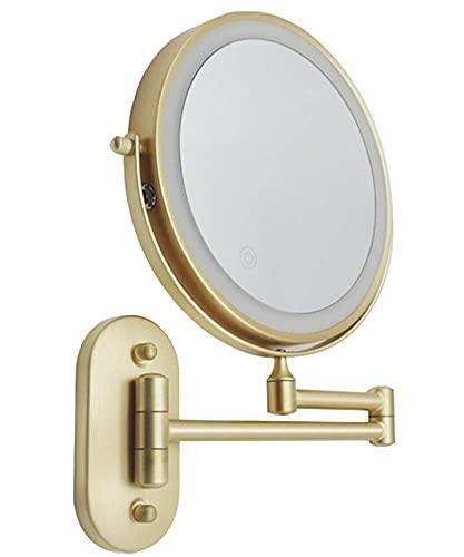 Specchio per il trucco a parete con 3 modalità di colore, specchio LED ingranditore su due lati, specchio da bagno, girevole a 360 ° ed estensibile, specchio da barba con alimentazione USB / argento