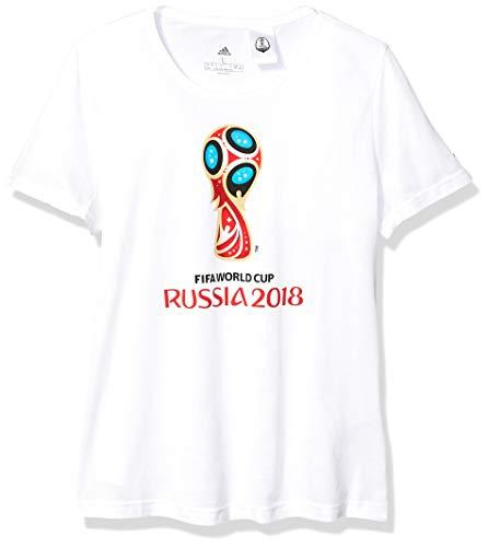 adidas Camiseta Emblema de la Copa Mundial de Fútbol para Hombre, World Cup Soccer, Camiseta de fútbol, Hombre, Color Blanco, tamaño Large