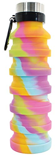 iscream BPA Free, 18 oz Collapsible Silicone Bottle - Rainbow Tie Dye