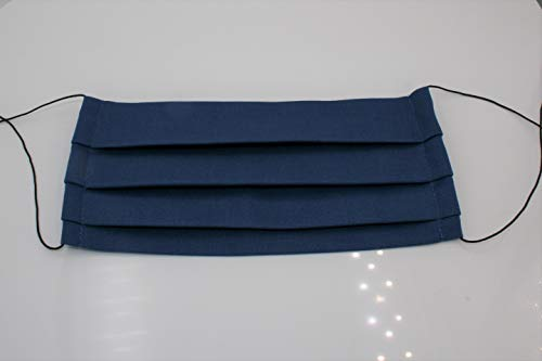 Hartmann-knopen modieus mond-neus masker blauw katoen wasbaar Made in Germany (1 stuks)