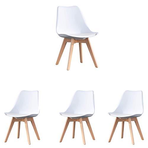 N/A Set di 4 sedie da Pranzo scandinave Sedia da Ufficio Imbottita Retro Tulipano con Gambe in Legno massello di Quercia e Cuscino in Similpelle (Bianco)