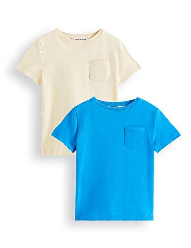 Marca Amazon - RED WAGON Camiseta de Algodón para Niños, Pack de 2, Azul (Blue/Creme Brulee), 104, Label:4 Years