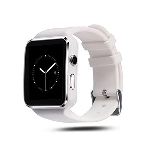 BOLEMAOYIFFF X6 Smart Watch Smart Recordatorio Bluetooth Cámara Puede conectar el Reloj de Deportes (Color : White Foreign Version)