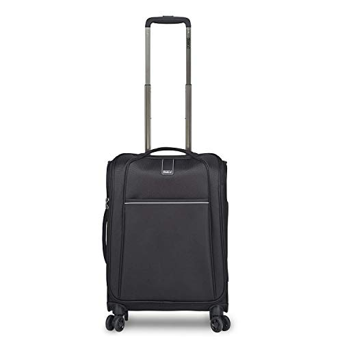 Stratic Unbeatable 4.0 Suitcase Soft Shell Trolley Trolley Suitcase Hand Luggage Soft Luggage TSA Lock Water Resistant Expandable, Black (Black) - 3-1025-55-black